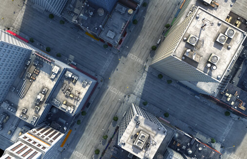 Aerial view of New York City intersection, New York, United States - BLEF03944