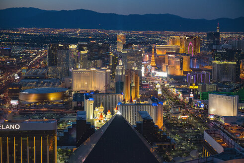 Aerial view of illuminated cityscape, Las Vegas, Nevada, United States, - BLEF04100