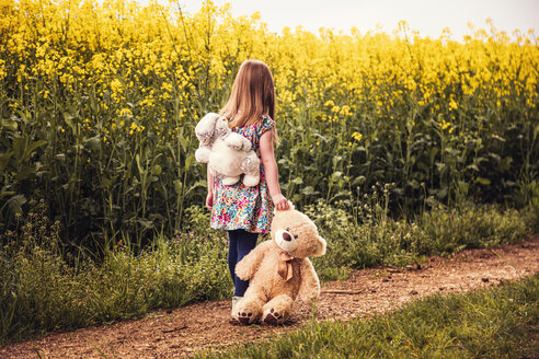 Girl walking alone with teddy and backpack on a field way - SEBF00105