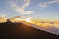 View from Red Hill summit to Haleakala Observatory at sunset, Maui, Hawaii, USA - FOF10782