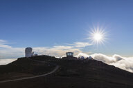 View from Red Hill summit to Haleakala Observatory at sunset, Maui, Hawaii, USA - FOF10788