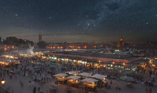 Crowd at night in Jamaa el Fna Square, Marrakesh, Morocco, - BLEF04684