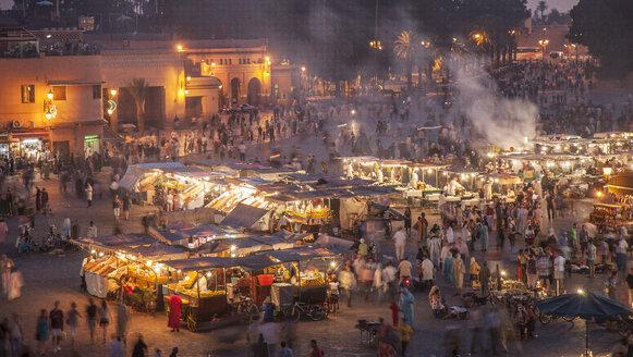 Crowd at night in Jamaa el Fna Square, Marrakesh, Morocco, - BLEF04687