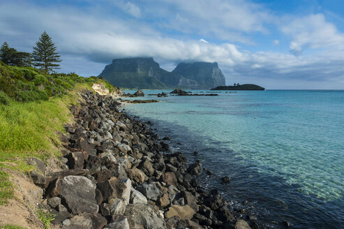 View of Mount Lidgbird and Mount Gower in the background on Lord Howe Island, New South Wales, Australia - RUNF02170