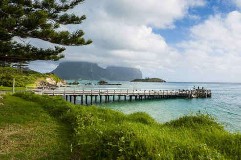 Pier with Mount Lidgbird and Mount Gower in the background, Lord Howe Island, New South Wales, Australia - RUNF02176