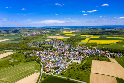 Aerial view of rape fields and cornfields near Usingen and Schwalbach, Hesse, Germany - AMF07051