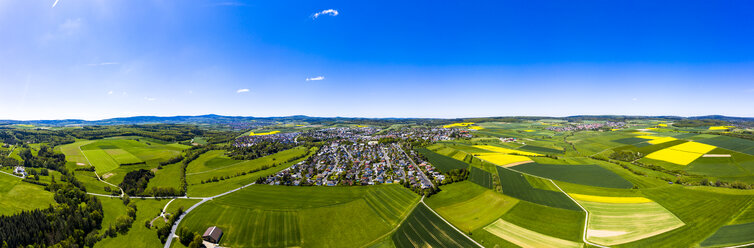 Aerial view of rape fields and cornfields near Usingen and Schwalbach, Hesse, Germany - AMF07054