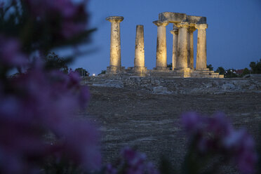 Archaic Temple of Apollo at blue hour, Dorian columns, Corinth, Greece - MAMF00719