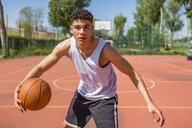 Young man playing basketball - MGIF00501