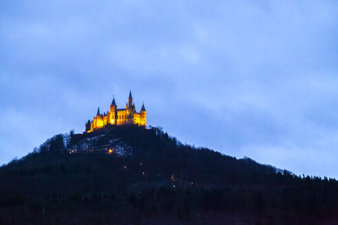 View of Hohenzollern Castle at blue hour, Bisingen, Germany - PUF01547