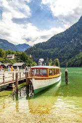 Moored tourist boat, Koenigssee,  Berchtesgadener Land, Germany - PUF01574