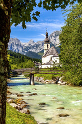 Parish church of St Sebastian with Reiteralpe mountain in the background, Ramsau, Germany - PUF01577
