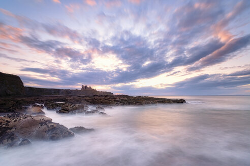 View to Tantallon Castle at sunset, North Berwick, East Lothian, Scotland - SMAF01236