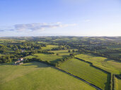 Scenic aerial landscape view of green fields in sunny rural countryside under blue sky - JUIF01226