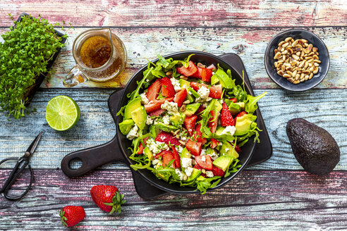 Strawberry avocado salad with feta, rocket, pine nuts and cress - SARF04294