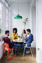 Four friends at home having coffee break - GIOF06446