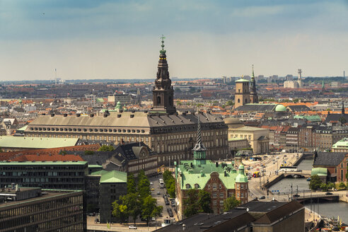 View of Copenhagen center from above from Church of Our Saviour, Vor Frelsers Kirke in Christianshavn - TAMF01542