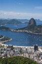 Outlook from the Christ the Redeemer statue over Rio de Janeiro with Sugarloaf Mountain, Brazil - RUNF02377