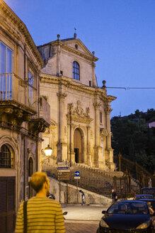 Chiesa delle Santissime Anime del Purgatorio at night, Ragusa, Sicily, Italy - MAMF00766