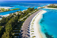 Aerial view of water bungalows, Olhuveli, South Male Atoll, Maledives - AMF07097