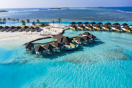 Aerial view of water bungalows, South Male Atoll, Maledives - AMF07103