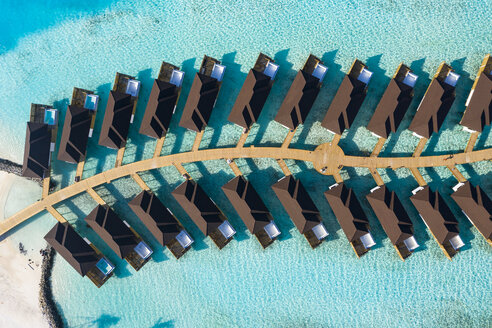 Water bungalows from above, South Male Atoll, Maledives - AMF07106