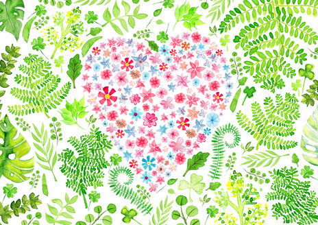 Heart full of love, watercolor painting - CMF00884