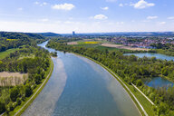 Isar at Woerth an der Isar, Isar Nuclear Power Plant in background, Bavaria, Germany, drone shot - SIEF08665