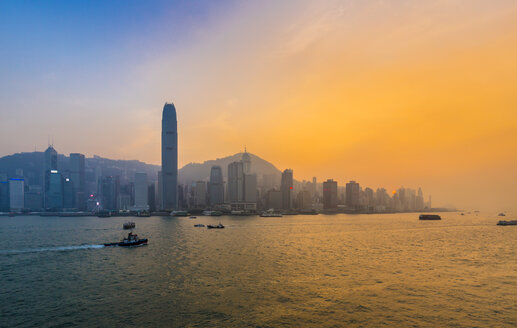 Hong Kong Central skyline and Victoria Harbour at sunset, Hong Kong, China - HSIF00658