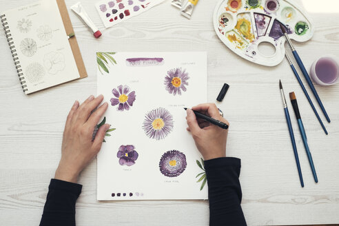 Woman painting flowers with water colors, top view - MOMF00705