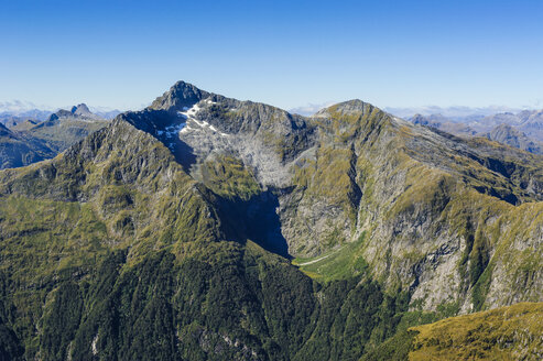 Aerial of the rugged mountains in Fjordlands, South Island, New Zealand - RUNF02440