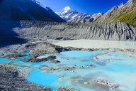 Turquoise glacier lake before Mount Cook, South Island, New Zealand - RUNF02458