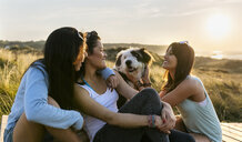 Three happy women with dog sitting on boardwalk in dunes at sunset - MGOF04123