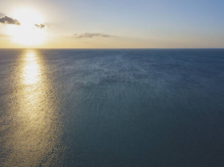 Aerial view of sunset over the sea, Holbox, Yucatan, Mexico - MMAF00956
