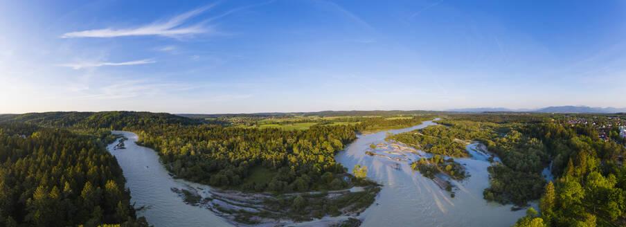 Isar bei Hochwasser, Naturschutzgebiet Isarauen, Geretsried, Drohnenaufnahme, Oberbayern, Bayern, Deutschland - SIEF08677