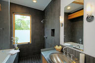 Shower and sink in modern bathroom - MINF11667