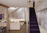 Purple staircase in modern home - MINF11787