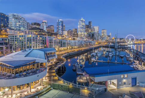 City skyline lit up at night, Seattle, Washington, United States - MINF11982