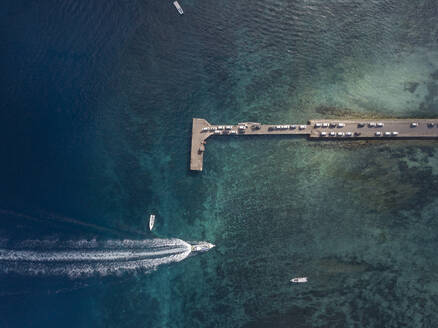 Aerial view of cars at the pier, Nusa Penida island,Bali,Indonesia - KNTF02801