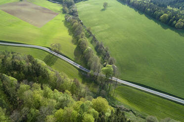 Aerial view of rural road through landscape with agricultural fields and forest, springtime, Franconia, Bavaria, Germany - RUEF02233