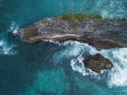 Aerial view of coast between Broken beach and Manta bay, Nusa Penida, Bali, Indonesia - KNTF02897