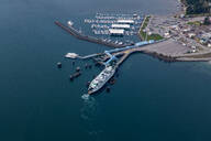 Aerial view of ferry terminal in Seattle harbor, Seattle, Washington, United States - MINF12290