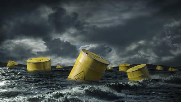 Oil barrels floating in stormy sea - BLEF06720