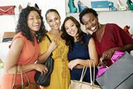 Women smiling in shoe store - BLEF06819