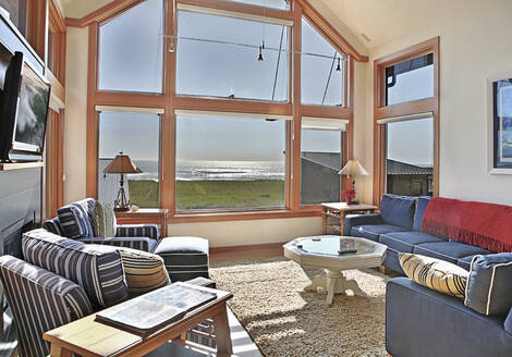 Ocean view through living room window - MINF12464