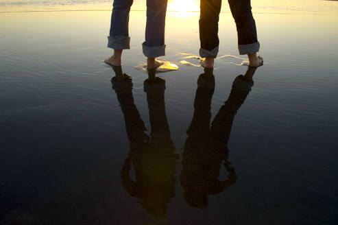 Reflection of legs in water at beach - MINF12497