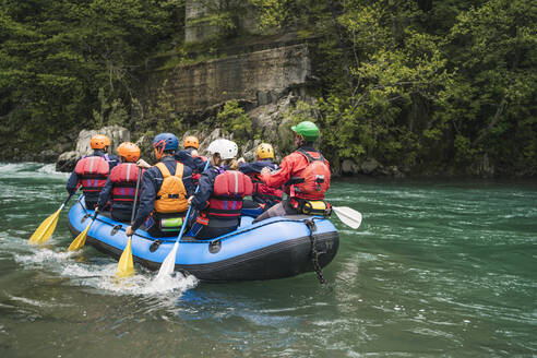 Lucca, Pistoia, Italy, rafting with friends, sometimes you have to leave the electronic device away and have fun outside with friends - FBAF00734