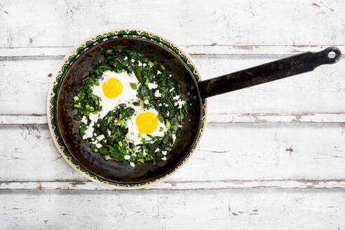 Green Shakshouka with baby spinach, chard, spring onions and basil in a pan - LVF08094
