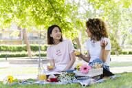 Two happy women having a picnic in park - FMOF00707