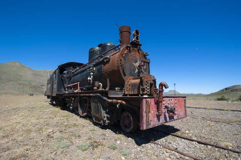 La Trochita narrow gauge railway between Esquel and El Maiten in Chubut Province, Argentina, South America - RUN02808